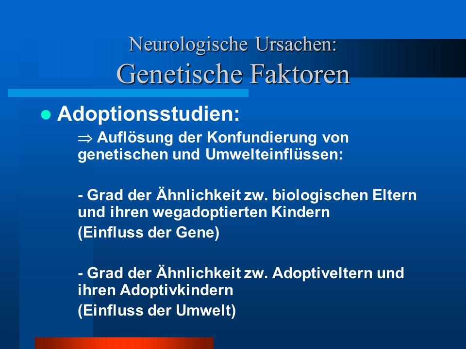 Neurologische Ursachen: Genetische Faktoren Erklärungswert: ADS-Kinder ähneln hinsichtlich der ADS-Symptomatik mehr ihren biologischen Eltern als den Adoptiveltern: (vgl.