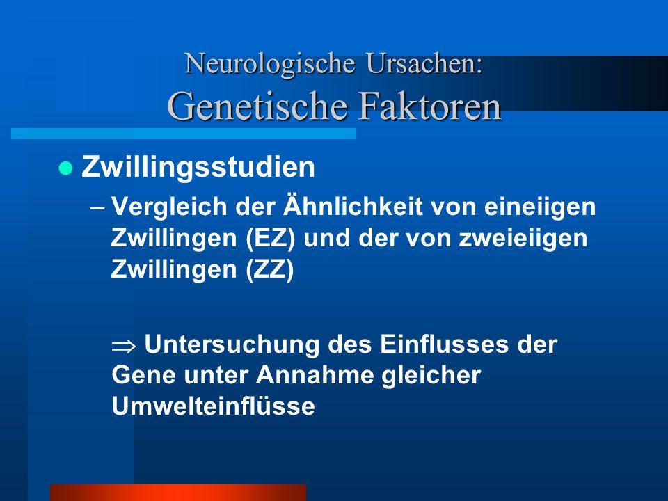 Neurologische Ursachen: Genetische Faktoren Erklärungswert: –Deutlich höhere Symptomkonkordanz bei eineiigen im Vergleich zu zweieiigen Zwillingen (vgl.