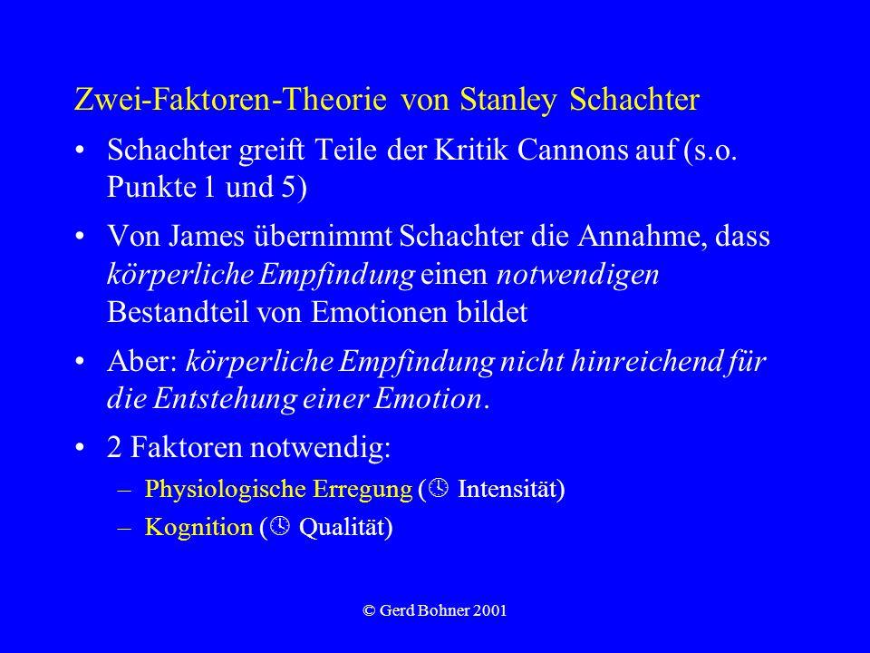 © Gerd Bohner 2001 Zwei-Faktoren-Theorie von Stanley Schachter Schachter greift Teile der Kritik Cannons auf (s.o. Punkte 1 und 5) Von James übernimmt