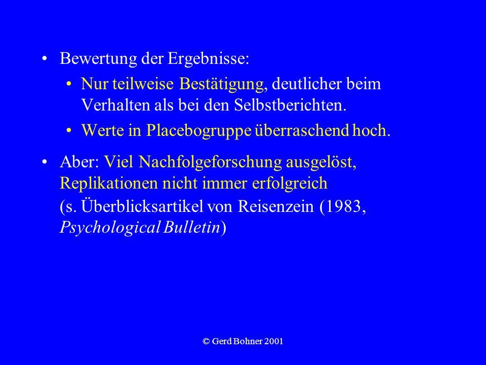 © Gerd Bohner 2001 Bewertung der Ergebnisse: Nur teilweise Bestätigung, deutlicher beim Verhalten als bei den Selbstberichten. Werte in Placebogruppe