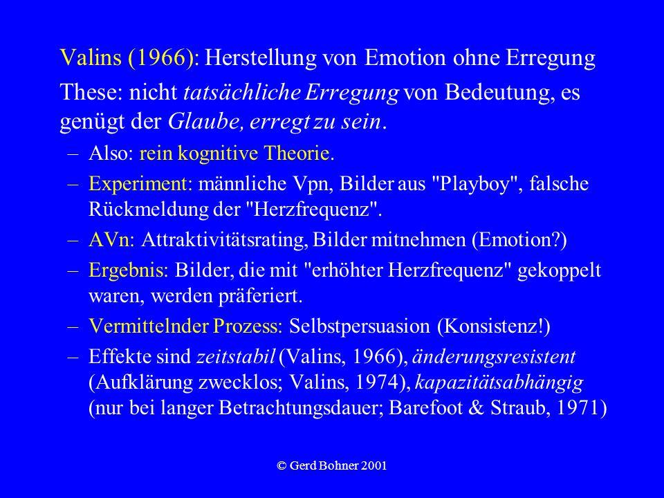 © Gerd Bohner 2001 Valins (1966): Herstellung von Emotion ohne Erregung These: nicht tatsächliche Erregung von Bedeutung, es genügt der Glaube, erregt