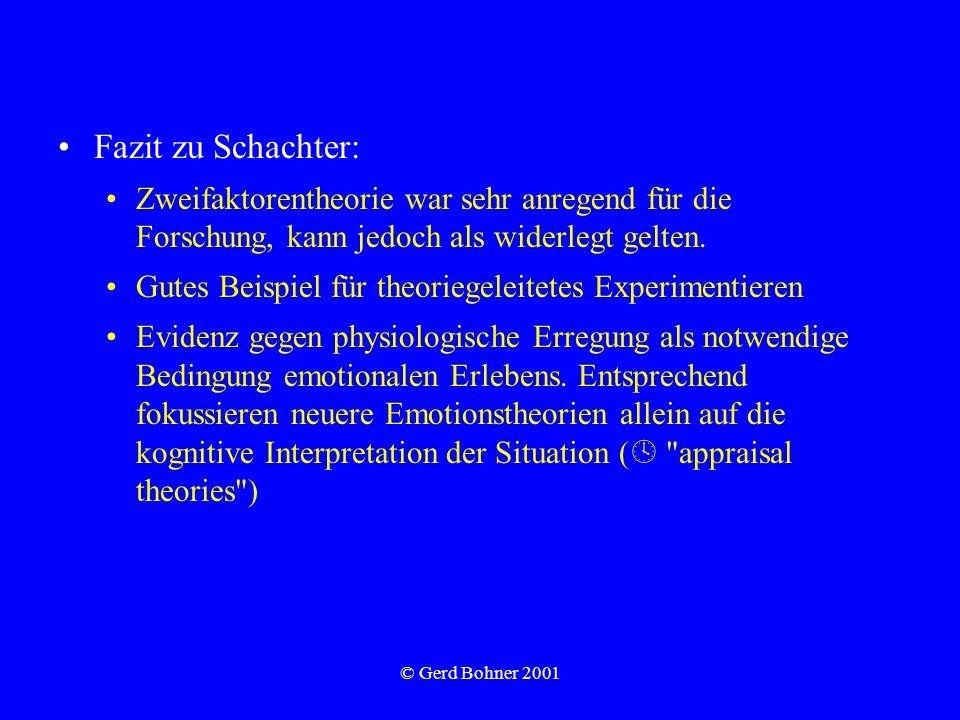 © Gerd Bohner 2001 Fazit zu Schachter: Zweifaktorentheorie war sehr anregend für die Forschung, kann jedoch als widerlegt gelten. Gutes Beispiel für t