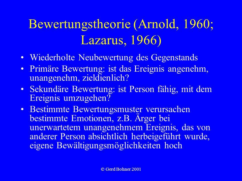 © Gerd Bohner 2001 Bewertungstheorie (Arnold, 1960; Lazarus, 1966) Wiederholte Neubewertung des Gegenstands Primäre Bewertung: ist das Ereignis angene