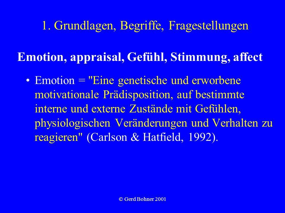 © Gerd Bohner 2001 1. Grundlagen, Begriffe, Fragestellungen Emotion, appraisal, Gefühl, Stimmung, affect Emotion =