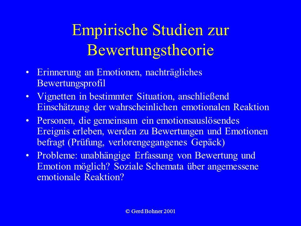 © Gerd Bohner 2001 Empirische Studien zur Bewertungstheorie Erinnerung an Emotionen, nachträgliches Bewertungsprofil Vignetten in bestimmter Situation