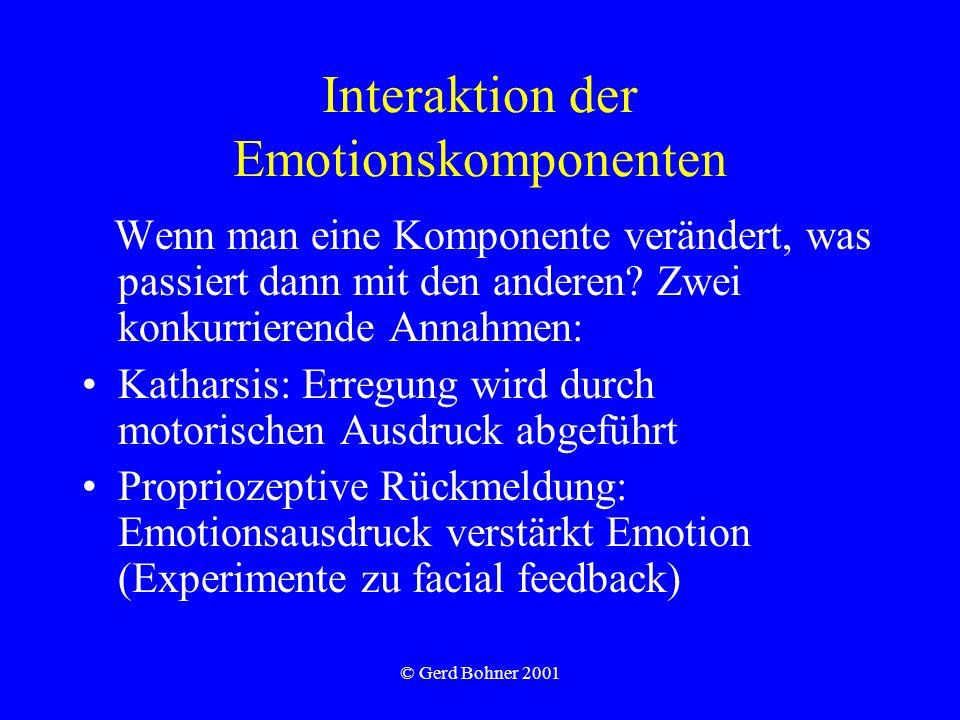 © Gerd Bohner 2001 Interaktion der Emotionskomponenten Wenn man eine Komponente verändert, was passiert dann mit den anderen? Zwei konkurrierende Anna