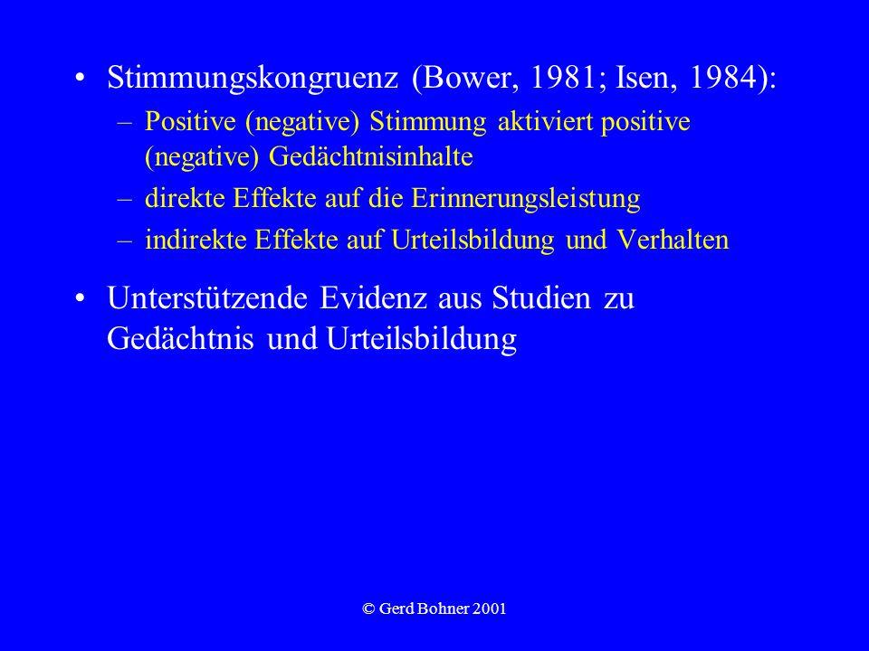 © Gerd Bohner 2001 Stimmungskongruenz (Bower, 1981; Isen, 1984): –Positive (negative) Stimmung aktiviert positive (negative) Gedächtnisinhalte –direkt
