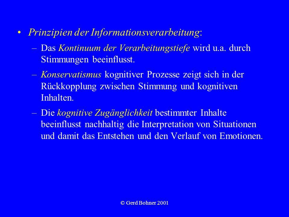 © Gerd Bohner 2001 Prinzipien der Informationsverarbeitung: –Das Kontinuum der Verarbeitungstiefe wird u.a. durch Stimmungen beeinflusst. –Konservatis