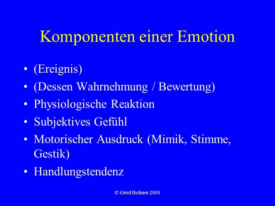 © Gerd Bohner 2001 Komponenten einer Emotion (Ereignis) (Dessen Wahrnehmung / Bewertung) Physiologische Reaktion Subjektives Gefühl Motorischer Ausdru