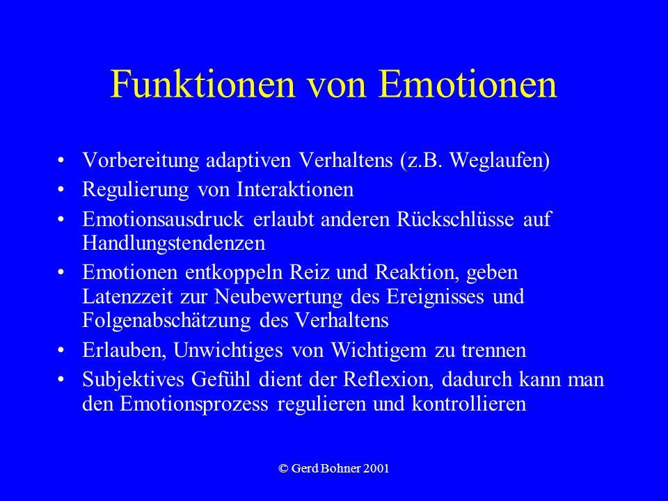 © Gerd Bohner 2001 Funktionen von Emotionen Vorbereitung adaptiven Verhaltens (z.B. Weglaufen) Regulierung von Interaktionen Emotionsausdruck erlaubt