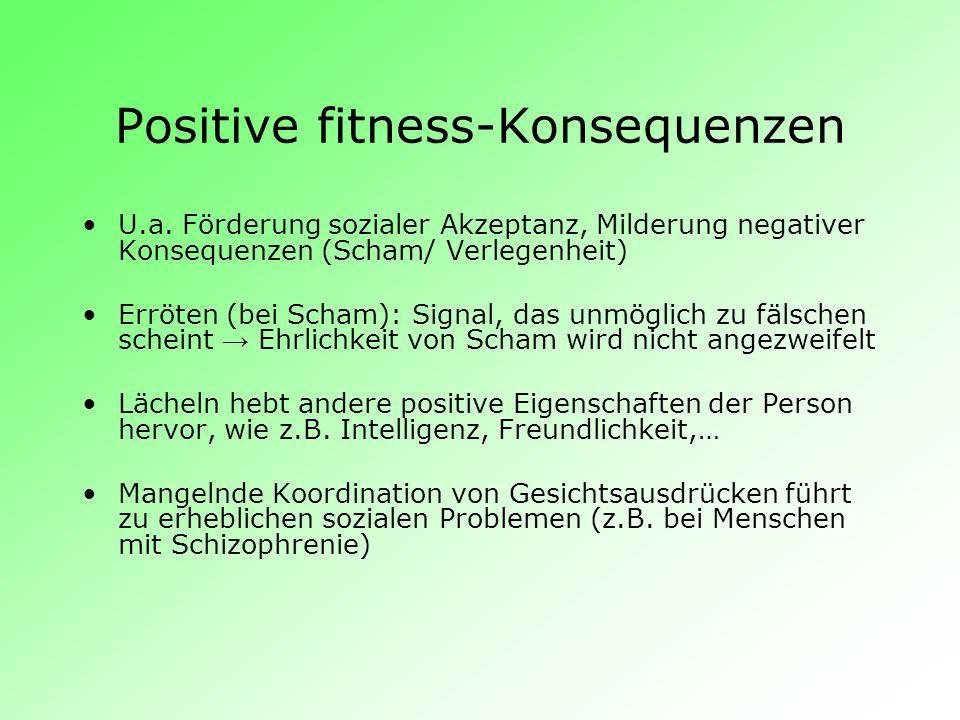 Positive fitness-Konsequenzen U.a. Förderung sozialer Akzeptanz, Milderung negativer Konsequenzen (Scham/ Verlegenheit) Erröten (bei Scham): Signal, d