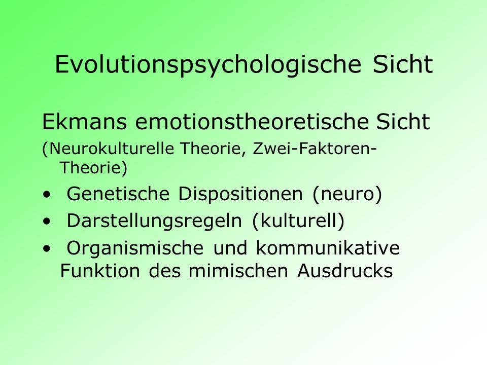 Evolutionspsychologische Sicht Ekmans emotionstheoretische Sicht (Neurokulturelle Theorie, Zwei-Faktoren- Theorie) Genetische Dispositionen (neuro) Da