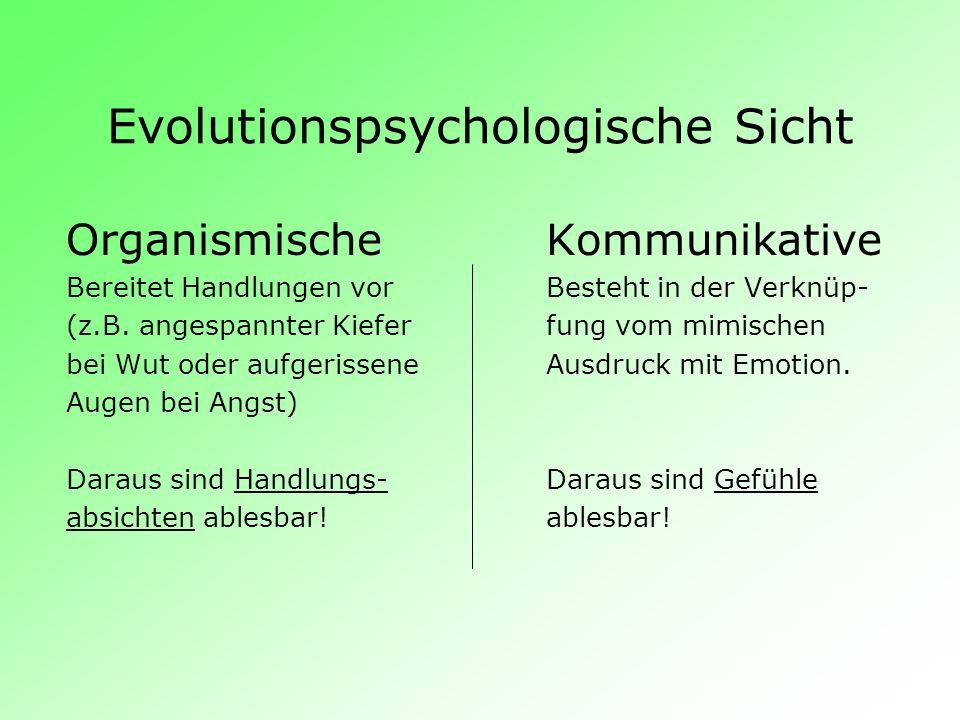Evolutionspsychologische Sicht OrganismischeKommunikative Bereitet Handlungen vorBesteht in der Verknüp- (z.B. angespannter Kieferfung vom mimischen b