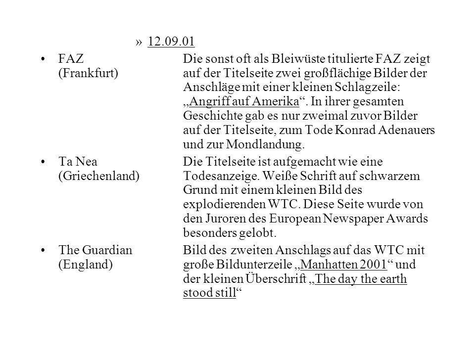 »12.09.01 FAZDie sonst oft als Bleiwüste titulierte FAZ zeigt (Frankfurt)auf der Titelseite zwei großflächige Bilder der Anschläge mit einer kleinen S