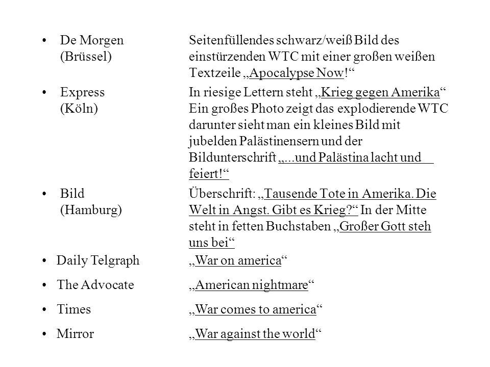 De Morgen Seitenfüllendes schwarz/weiß Bild des (Brüssel)einstürzenden WTC mit einer großen weißen Textzeile Apocalypse Now! ExpressIn riesige Lettern