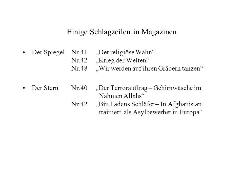 Einige Schlagzeilen in Magazinen Der SpiegelNr.41Der religiöse Wahn Nr.42Krieg der Welten Nr.48Wir werden auf ihren Gräbern tanzen Der SternNr.40Der T