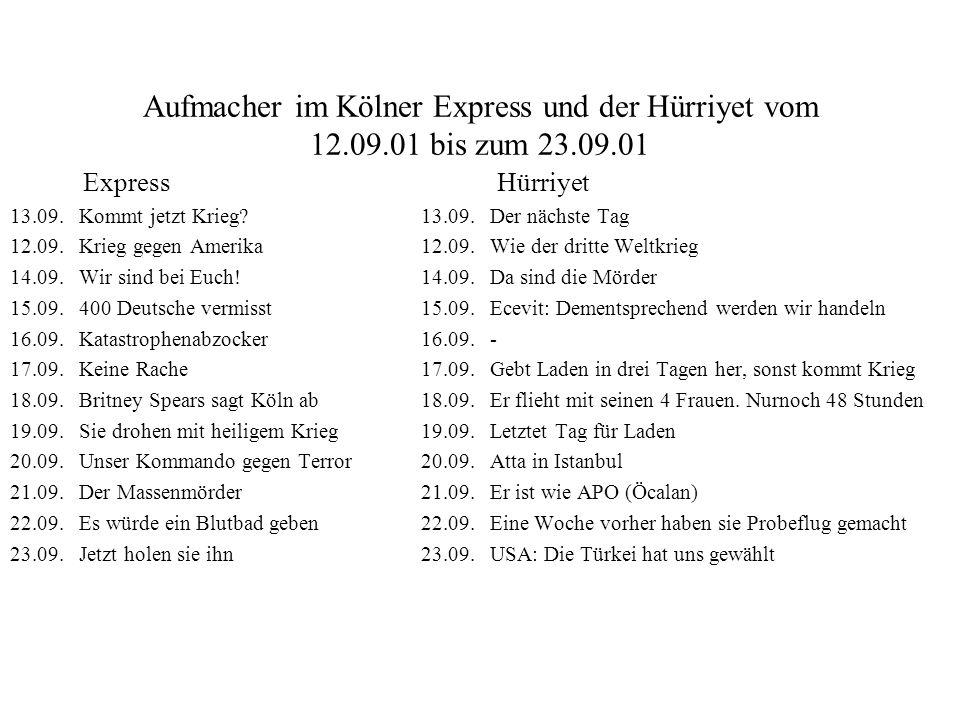Aufmacher im Kölner Express und der Hürriyet vom 12.09.01 bis zum 23.09.01 Express Hürriyet 13.09. Kommt jetzt Krieg? 13.09.Der nächste Tag 12.09. Kri