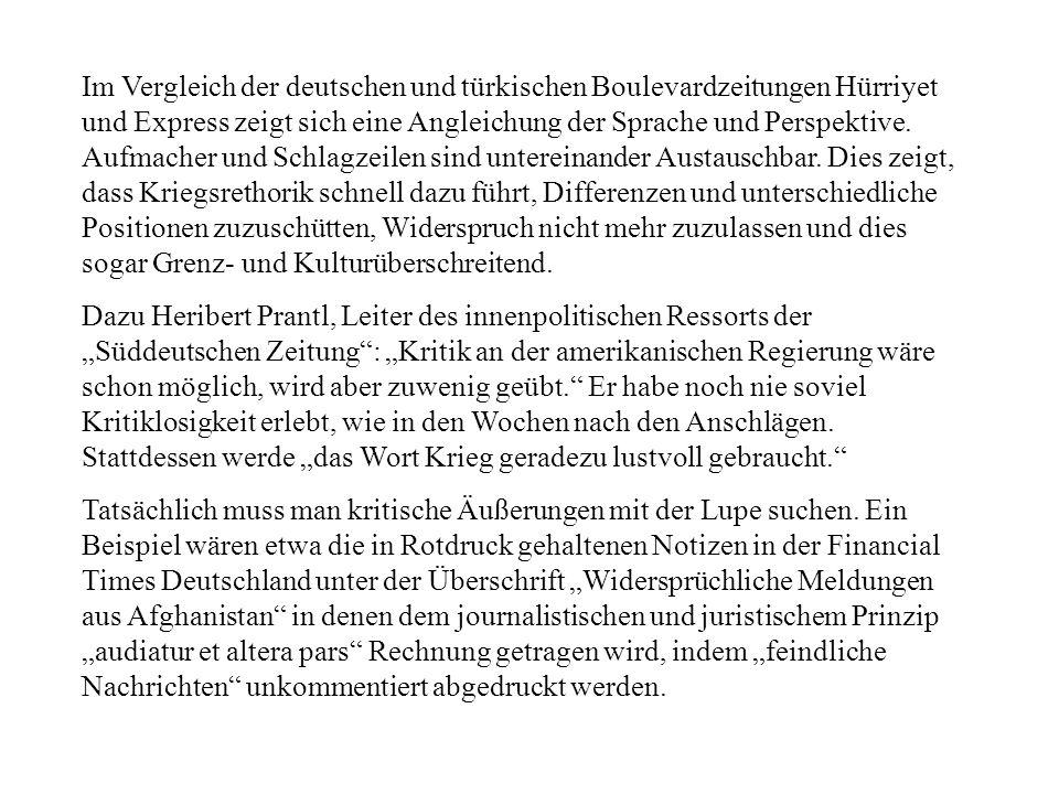 Im Vergleich der deutschen und türkischen Boulevardzeitungen Hürriyet und Express zeigt sich eine Angleichung der Sprache und Perspektive. Aufmacher u