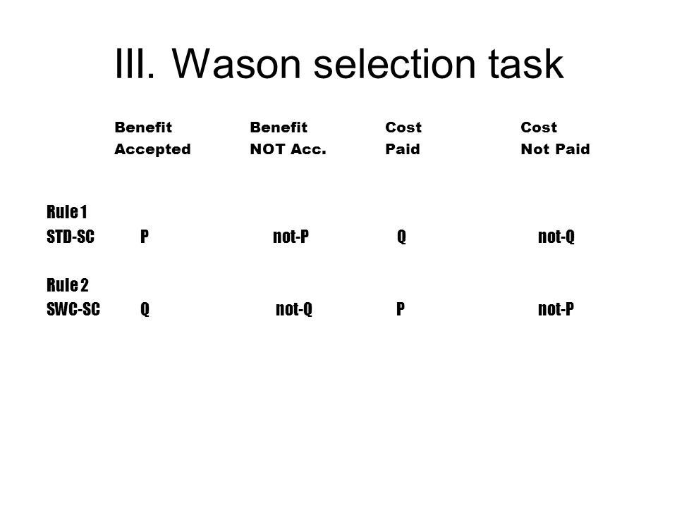 III. Wason selection task BenefitBenefitCostCost AcceptedNOT Acc.PaidNot Paid Rule 1 STD-SC P not-P Q not-Q Rule 2 SWC-SC Q not-Q P not-P