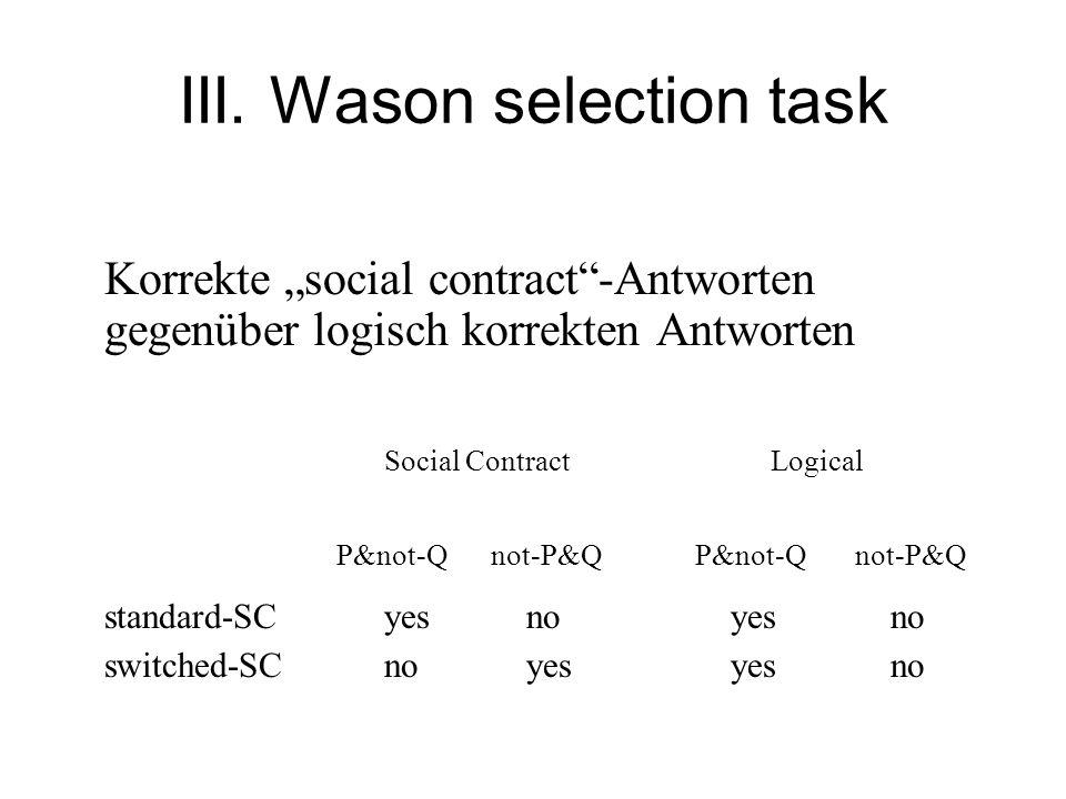 III. Wason selection task Korrekte social contract-Antworten gegenüber logisch korrekten Antworten Social Contract Logical P&not-Qnot-P&Q P&not-Q not-