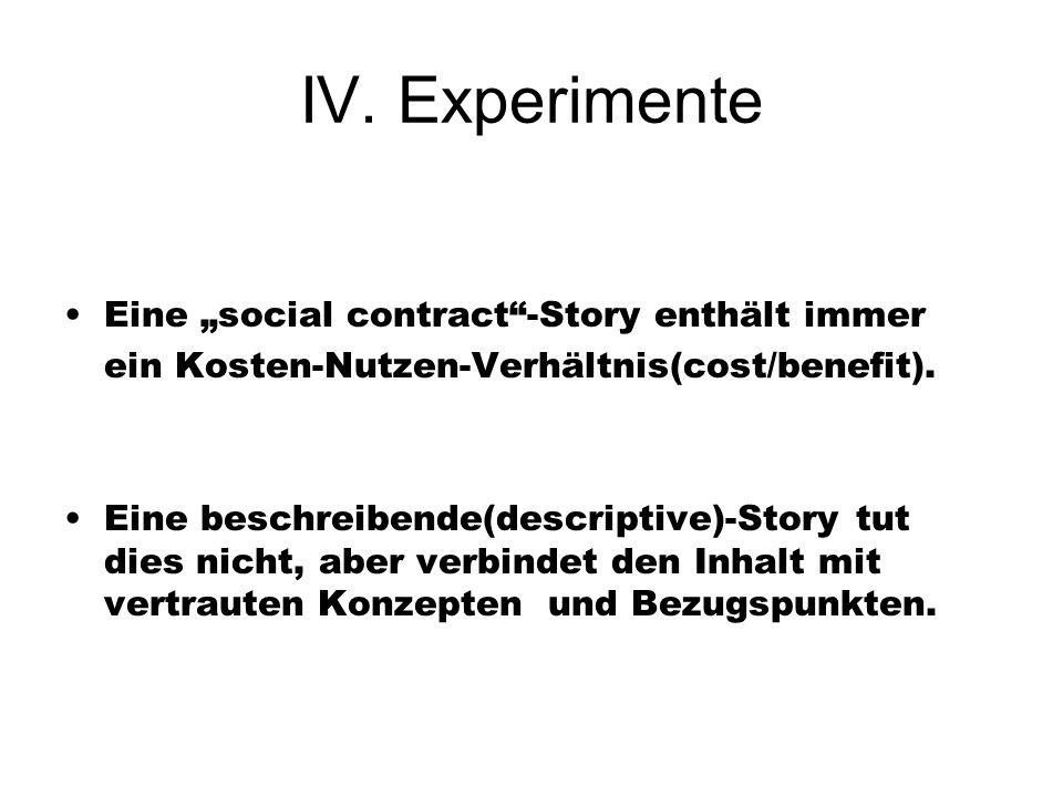 IV. Experimente Eine social contract-Story enthält immer ein Kosten-Nutzen-Verhältnis(cost/benefit). Eine beschreibende(descriptive)-Story tut dies ni