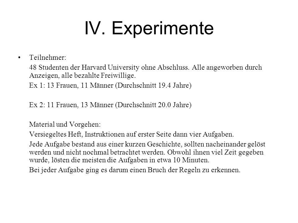 IV. Experimente Teilnehmer: 48 Studenten der Harvard University ohne Abschluss.