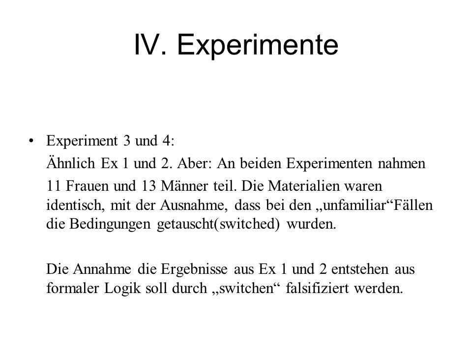 IV. Experimente Experiment 3 und 4: Ähnlich Ex 1 und 2.