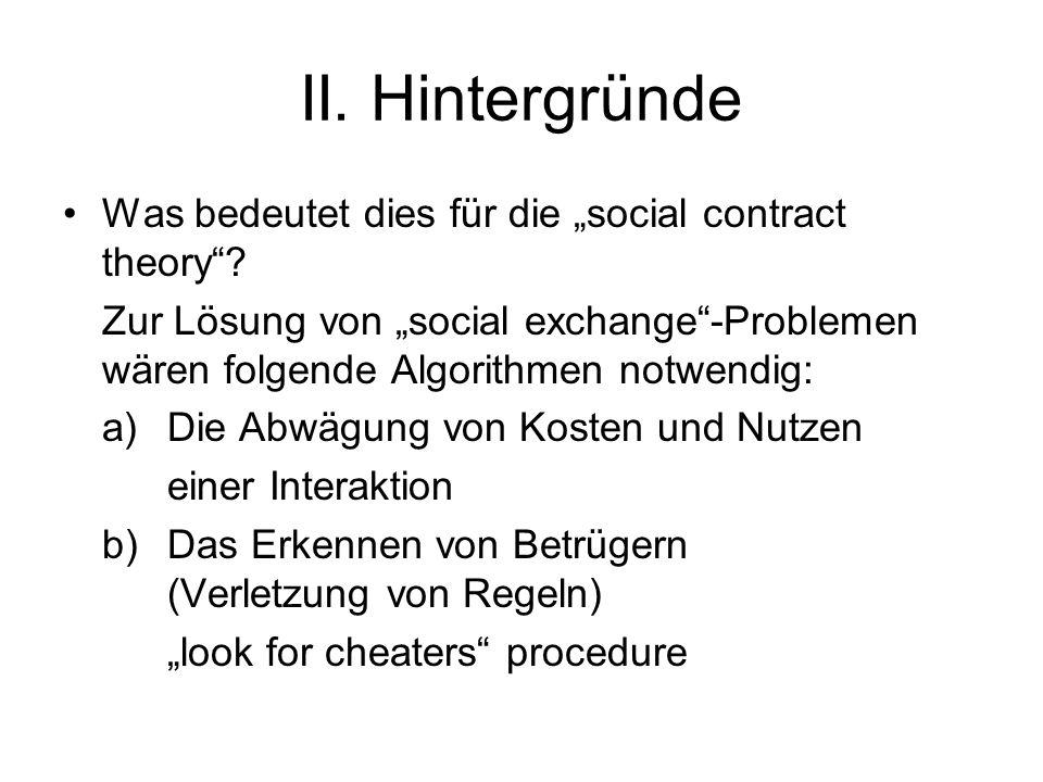 II. Hintergründe Was bedeutet dies für die social contract theory.