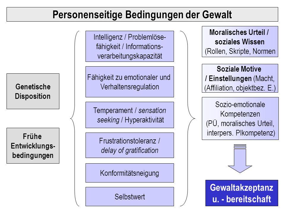 Temperament / sensation seeking / Hyperaktivität Fähigkeit zu emotionaler und Verhaltensregulation Intelligenz / Problemlöse- fähigkeit / Informations