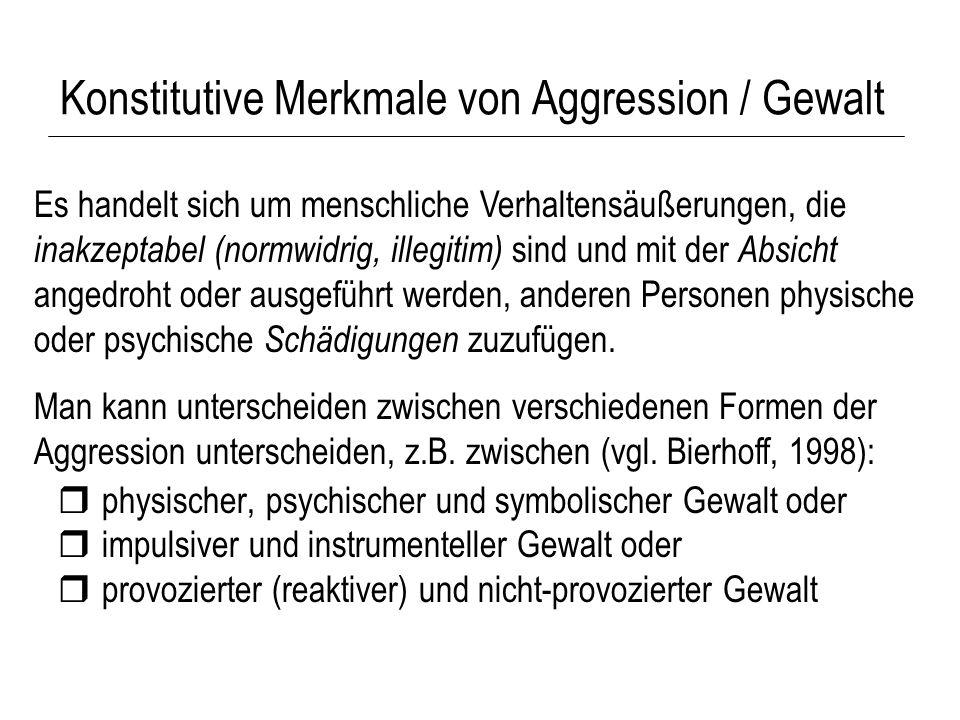 Konstitutive Merkmale von Aggression / Gewalt physischer, psychischer und symbolischer Gewalt oder impulsiver und instrumenteller Gewalt oder provozie