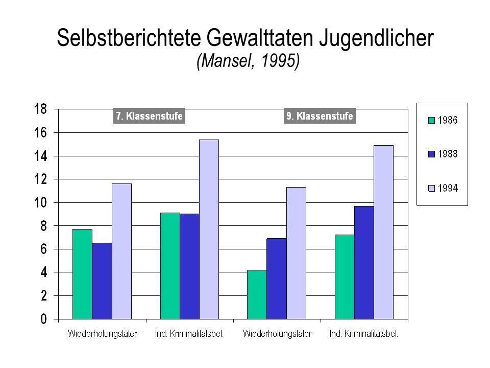 Selbstberichtete Gewalttaten Jugendlicher (Mansel, 1995)