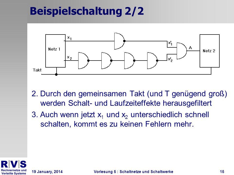 19 January, 2014 Vorlesung 5 : Schaltnetze und Schaltwerke15 Beispielschaltung 2/2 2. Durch den gemeinsamen Takt (und T genügend groß) werden Schalt-