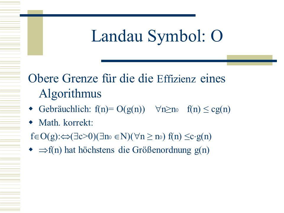 Landau Symbole Im Fogenden: f und g seien zwei Algorithmen und c eine Konstante