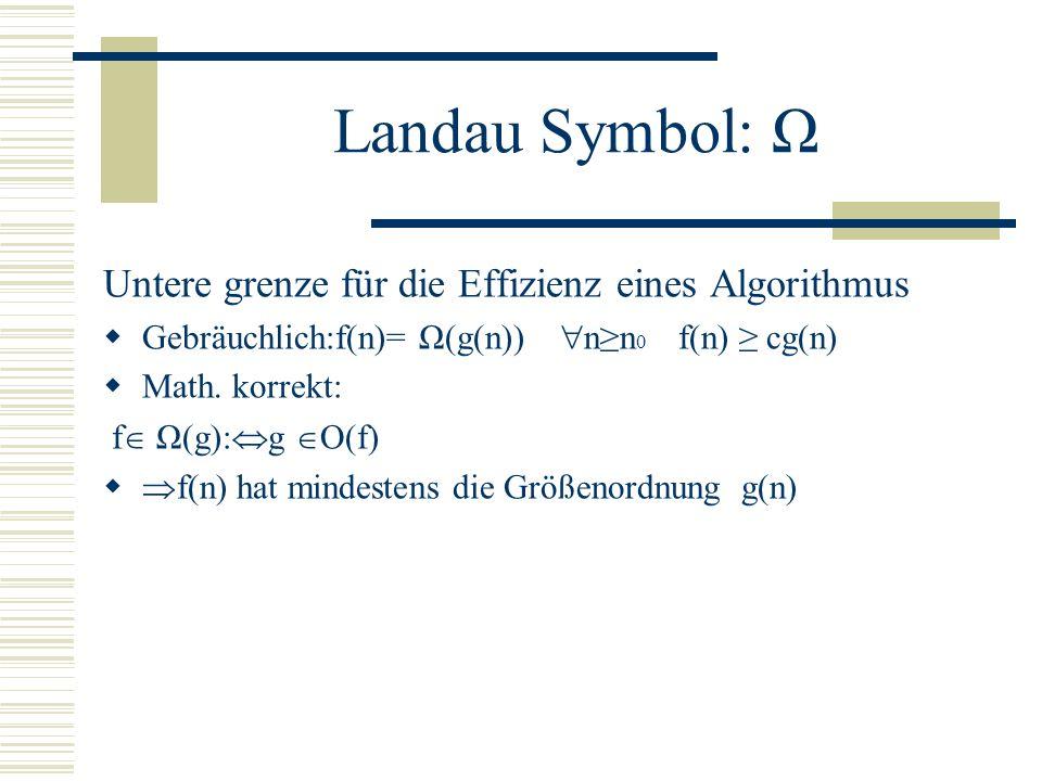 Landau Symbol: O Obere Grenze für die die Effizienz eines Algorithmus Gebräuchlich: f(n)= O(g(n)) nn 0 f(n) cg(n) Math. korrekt: f O(g): ( c>0)( n 0 N