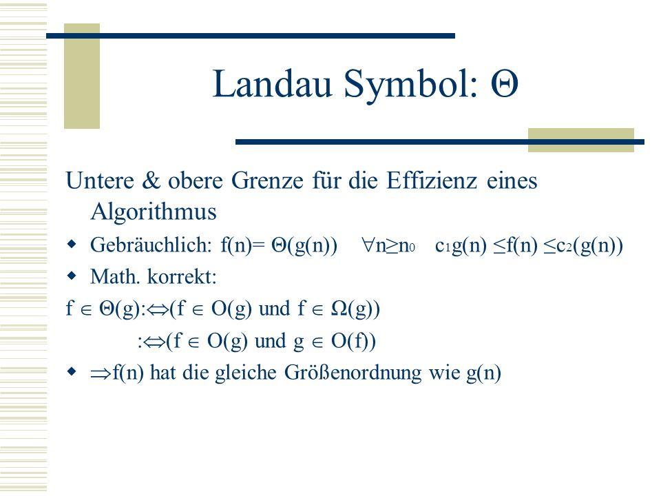 Landau Symbol: Ω Untere grenze für die Effizienz eines Algorithmus Gebräuchlich:f(n)= Ω(g(n)) nn 0 f(n) cg(n) Math. korrekt: f Ω(g): g O(f) f(n) hat m
