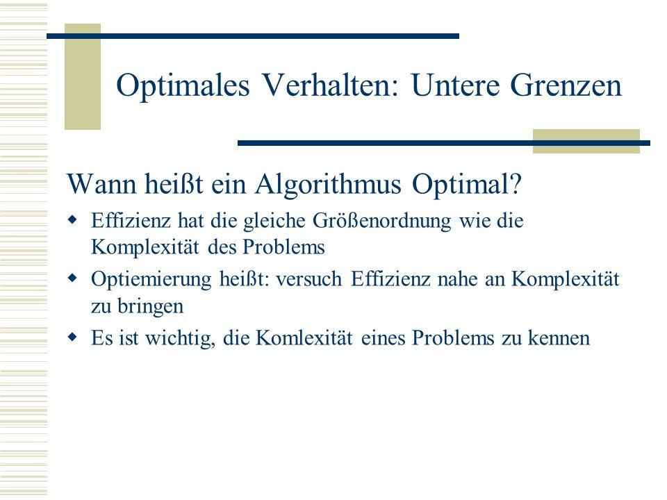 Landau Symbol: Θ Untere & obere Grenze für die Effizienz eines Algorithmus Gebräuchlich: f(n)= Θ(g(n)) nn 0 c 1 g(n) f(n) c 2 (g(n)) Math. korrekt: f