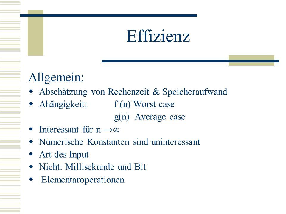 Effizienz Beispiel: Effizientes & Uneffizientes Suchen Uneffizient: Lineares Suchen: Suche nach 40 Laufzeit: f(n) = 2nWorst Case g(n)= n+1Best Case 12