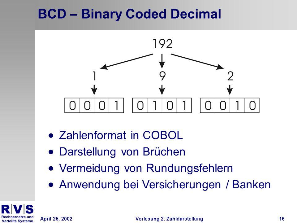 April 25, 2002Vorlesung 2: Zahldarstellung16 BCD – Binary Coded Decimal Zahlenformat in COBOL Darstellung von Brüchen Vermeidung von Rundungsfehlern A