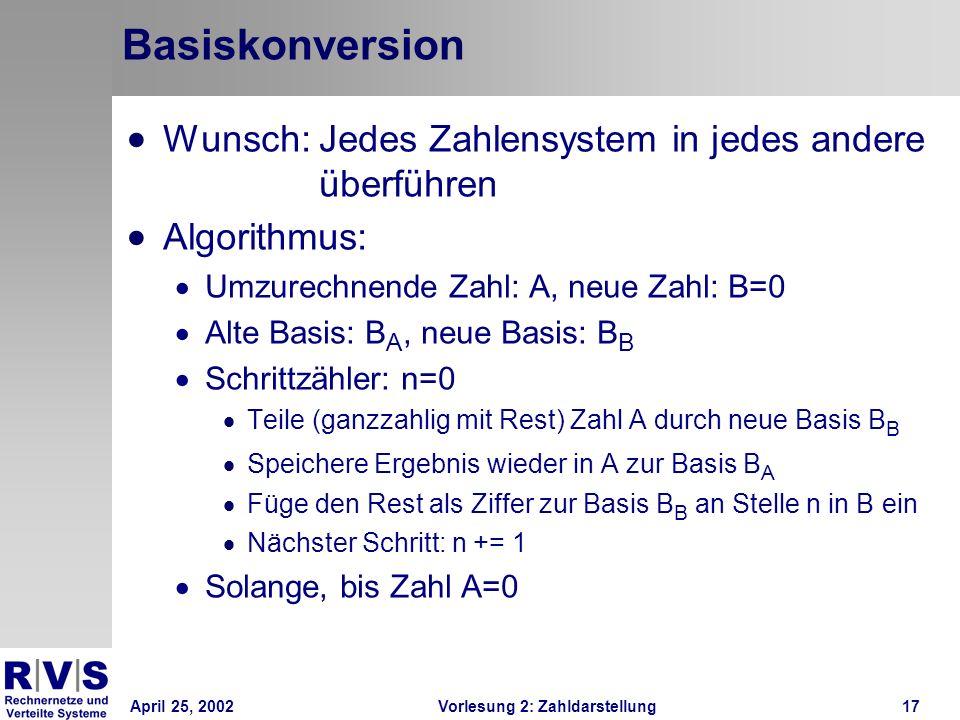 April 25, 2002Vorlesung 2: Zahldarstellung17 Basiskonversion Wunsch: Jedes Zahlensystem in jedes andere überführen Algorithmus: Umzurechnende Zahl: A,