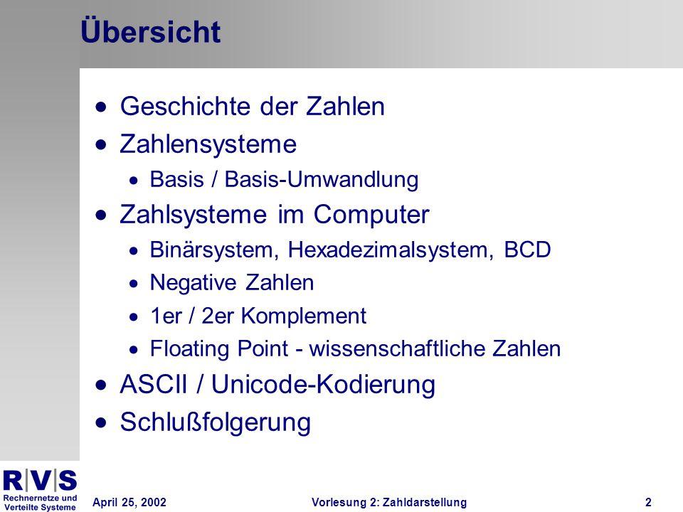 April 25, 2002Vorlesung 2: Zahldarstellung2 Übersicht Geschichte der Zahlen Zahlensysteme Basis / Basis-Umwandlung Zahlsysteme im Computer Binärsystem