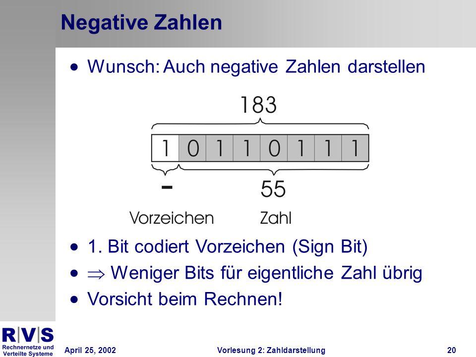 April 25, 2002Vorlesung 2: Zahldarstellung20 Negative Zahlen Wunsch: Auch negative Zahlen darstellen 1. Bit codiert Vorzeichen (Sign Bit) Weniger Bits