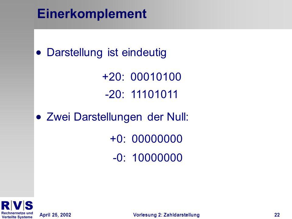April 25, 2002Vorlesung 2: Zahldarstellung22 Einerkomplement +0:00000000 -0:10000000 +20:00010100 -20:11101011 Darstellung ist eindeutig Zwei Darstell