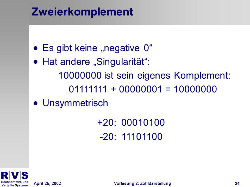 April 25, 2002Vorlesung 2: Zahldarstellung24 Zweierkomplement +20:00010100 -20:11101100 Es gibt keine negative 0 Hat andere Singularität: 10000000 ist