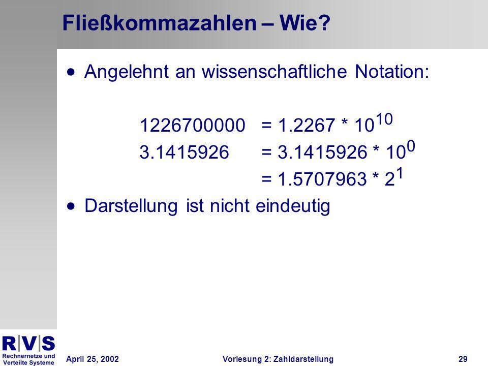 April 25, 2002Vorlesung 2: Zahldarstellung29 Fließkommazahlen – Wie? Angelehnt an wissenschaftliche Notation: 1226700000 = 1.2267 * 10 10 3.1415926 =
