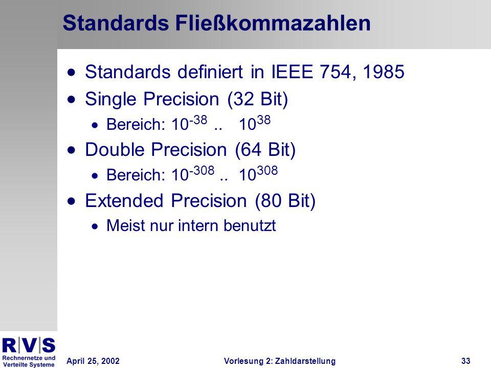 April 25, 2002Vorlesung 2: Zahldarstellung33 Standards Fließkommazahlen Standards definiert in IEEE 754, 1985 Single Precision (32 Bit) Bereich: 10 -3