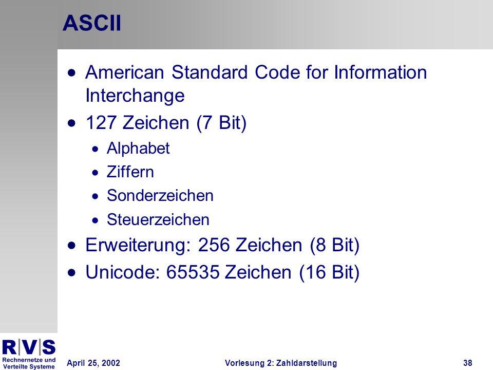 April 25, 2002Vorlesung 2: Zahldarstellung38 ASCII American Standard Code for Information Interchange 127 Zeichen (7 Bit) Alphabet Ziffern Sonderzeich