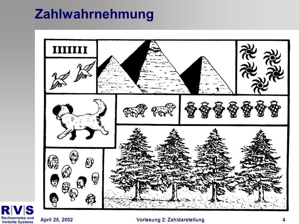 April 25, 2002Vorlesung 2: Zahldarstellung5 Zählen Zählen Zahlgefühl Natürliche Grenze liegt bei 3-5 Für alles weitere muss man zählen Man benötigt ein Zahlensysstem
