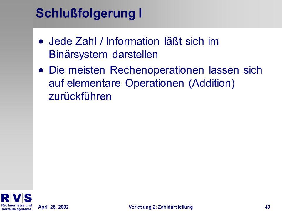 April 25, 2002Vorlesung 2: Zahldarstellung40 Schlußfolgerung I Jede Zahl / Information läßt sich im Binärsystem darstellen Die meisten Rechenoperation