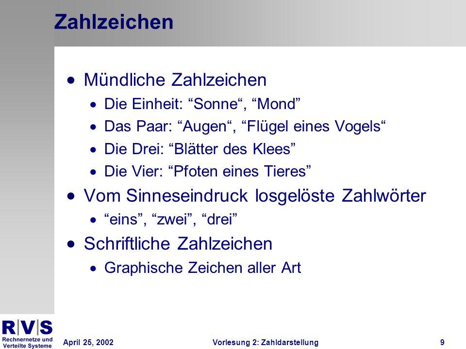 April 25, 2002Vorlesung 2: Zahldarstellung30 Prinzip Fließkommazahlen Jede reelle Zahl läßt sich ausdrücken durch ± Mantisse * Basis Exponent Basis im wissenschaftlichen System: 10 Basis im Rechner: 2 (bzw.