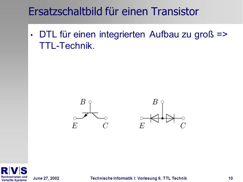 June 27, 2002Technische Informatik I: Vorlesung 9, TTL Technik10 Ersatzschaltbild für einen Transistor DTL für einen integrierten Aufbau zu groß => TT